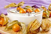 Fresh yogurt with physalis and chocolate sprinkles — Stock Photo