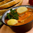 Hungarifish soup with potato — Stock Photo #9989707