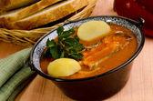 Hungarian fish soup with potato — Stock Photo