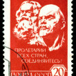 Vintage  postage stamp. Karl Marx and V.I. Lenin. - Stock Photo