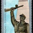 Vintage postage stamp. Monument soldier. — Stock Photo