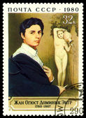Vintage postage stamp. Ingres. Self - portrait. — Stock Photo