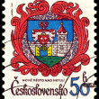 Vintage postage stamp. Coat of Arms Nove Mesto Nad Metuji. — Stock Photo