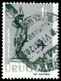"Vintage postage stamp. "" Flight"" from Monument to Fallen Aviato — Stock Photo"