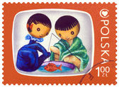 Vintage postage stamp. Jacek and Agatka. — Stock Photo