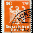 Vintage  postage stamp. German Eagle. 10 pf. - Stock Photo