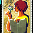 Vintage  postage stamp.  1972 - Year of the  Book. 6. - Stock Photo