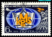 Vintage postage stamp. 100 years Metric Convention. — Stock Photo