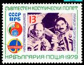 Sello. los astronautas g. ivanov y n. rukavishnikov — Foto de Stock