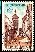 Vintage postage stamp. Street Riquewihr. — Stock Photo