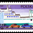 "Vintage  postage stamp. Ferry "" Gryf "". - Stock Photo"