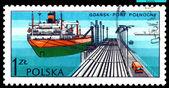 Vintage postage stamp. Tanker Zawrat. — Stock Photo