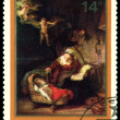 Vintage  postage stamp.  Rembrandt.  Holy Family. — Stock Photo