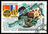 Stamp. Intercosmos USSR – France, Space Programm. — Fotografia Stock