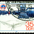 Vintage postage stamp. Salyut - Soyuz spase station. — Stock Photo