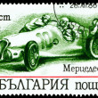 Vintage postage stamp. Sport car Mercedes 1936. - Stock Photo