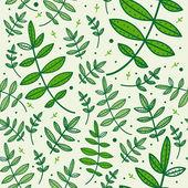 Seamless mönster med gröna blad — Stockvektor