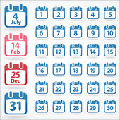 Set of calendar icons for every day — Stock Vector