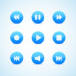 Set of round blue media player buttons - Stock Vector