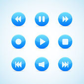 Set of round blue media player buttons — Stock Vector