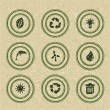 Ecology icons: green stamps on recycled paper — Stock Vector