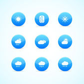 Set of blue glossy weather icons — Stock Vector