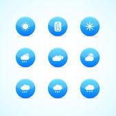 Conjunto de ícones do tempo brilhante azul — Vetor de Stock