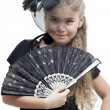 Little girl with a fan — Stock Photo