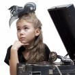 Little girl with gramophone — Stock Photo