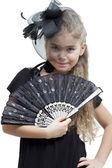 小女孩用的风扇 — 图库照片