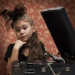 Stock Photo: Little girl with gramophone