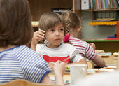 Lunch in the kindergarten — Stock Photo