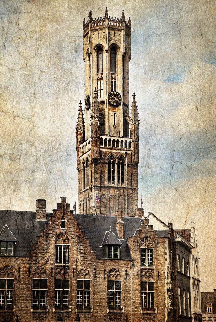 Belfort, a medieval belfry tower in Bruges, Belgium.  Made in artistic vintage style with texture — Stock Photo #8122643