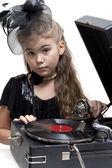 Dziewczynka z gramofonu — Zdjęcie stockowe