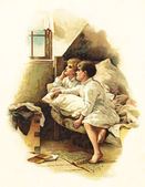 Kids in a bed — Stock Photo