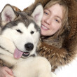 Stock Photo: Malamute puppy with girl