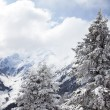 Foggy mountains in winter in Austrian Alps — Stock Photo