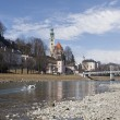 Stock Photo: View of Salzach river. Salzburg, Austria