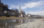 View of the Salzach river. Salzburg, Austria — Stock Photo