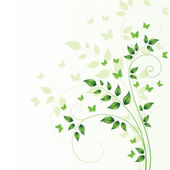 Magic spring tree with butterflies and space for text — Vector de stock