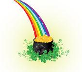 Olla de oro con arco iris — Vector de stock