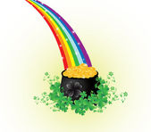 Pot of gold with rainbow — Stockvector