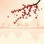 Abstract landscape with sakura branch — Stock Vector