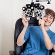 Stock Photo: Eye Checkup With Phoropter