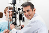 Optometrist Doing Visual Field Test On His Patient — Stock Photo