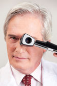 Optometrist with Opthalmoscope — Stock Photo