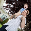 Portrait of Young Father and Son Outdoors — Stock Photo
