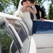 Newlywed Couple Standing Beside Limousine — Stock Photo #8787296