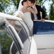 Stok fotoğraf: Newlywed Couple Standing Beside Limousine