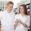Two Pharmacists in Pharmacy — Stock Photo